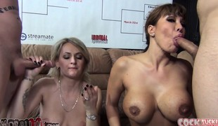 Wicked babes Ava Devine and Natasha Starr engage in a oral stimulation contest