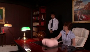Japanese office babe sucks before squirting