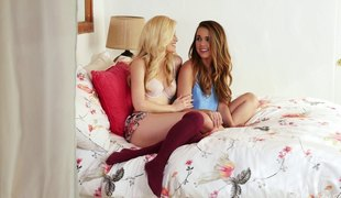 Awesome lesbian shagging session with an alluring brunette