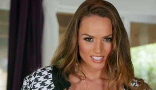 Totally natural Tori Black fingering pink vagina in solo video