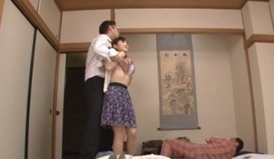 Housewife Yuu Kawakami Drilled Hard While Another Man Watches