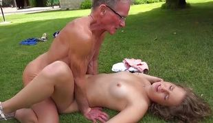 Cutie hooks up two old grandpas and make them cum
