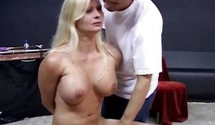 Bound blonde enjoys perverted bdsm