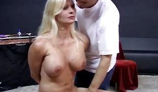 Bound blonde enjoys perverted bdsm