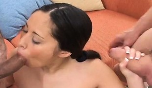 Tiny Asian girl with pigtails has two horny old men sharing her cunt