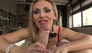 Rocco Siffredi uses his hard sausage to make oral-stimulation junkie Debbie White with giant knockers happy