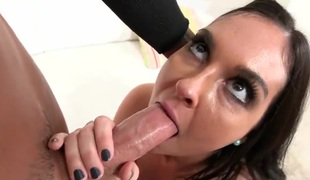 Brittany Shae with phat booty and shaved snatch has fire in her eyes as she gets her ravishing face painted with sticky nectar after sex with horny dude