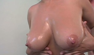 Sexy as fire golden-haired beauty Chrissy acquires her tits overspread with oil