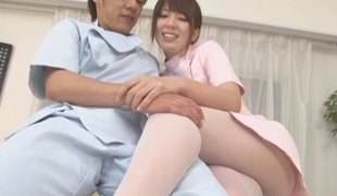 Cute Japanese girl in pantyhose gives him a footjob and cook jerking