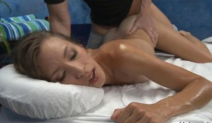brunette bitch getting fucked and she cums strong