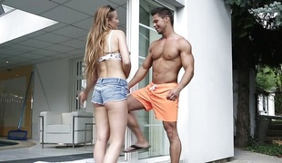 Alexis Crystal receives frisky with the ripped poolboy