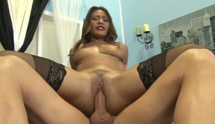 Asian place in his dick in her chocolate hole