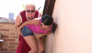 Grandad fucking younger woman doggystyle