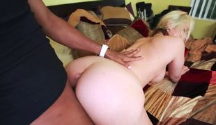 Perverted blonde gal likes to be pounded by large black horny man