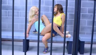 Slender cowgirl with sexy precious ass groaning when drilled in prison