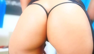 Loose cowgirl in a hot thong getting an anal toying then fucked in a hardcore doggy position