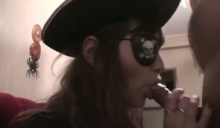 Hot pirate Julia engulfing massive dong deepthroat in POV episode
