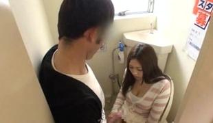 Japanese AV Model nasty milf receives fucked in public toilet