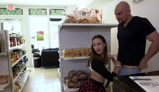 Fortunate bald stud fucks a beautiful teenage beauty in the mini market