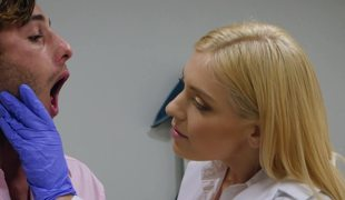 Blonde doctor sucks patient pecker and fucks on the exam table