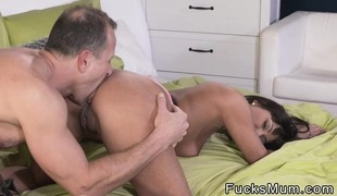 Tanned busty Milf takes huge creampie