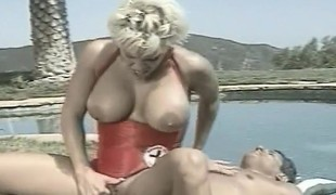 Super hawt busty blonde blows his dick and rides on it under the sun