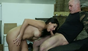 Mercedes Carrera with juicy wobblers cant resist Derrick Pierces rock solid boner and takes it in her mouth