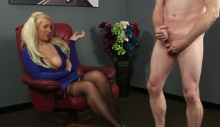 Blonde domina humiliates