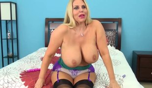 Intriguing blonde with big milk sacks in the amazing solo masturbation