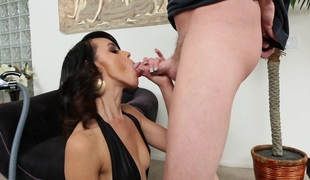 Miniature dark brown Binky Bangs gets all her holes fucked in FFM clip