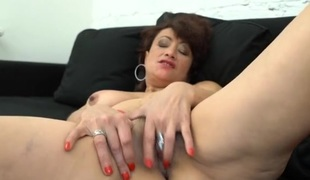 Fingering and tit fondling mature lady solo