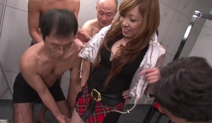 Real Japanese schoolgirl in a fuck and engulf group sex