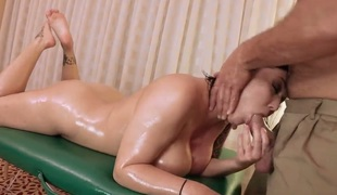 Exposed MILF Claire Dames with fake huge love bubbles and smooth cookie shows off her nice body to favourable guy on kneading table. She gets her pussy licked and then drilled hard. Shes as a result fucking sexy!