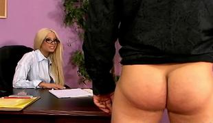 Sexy adult star Gina Lynn copulates with lucky guy in the office ALIVEGIRLcom