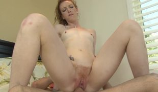 Redhead slut with a curly twat is down for some freaky fucking