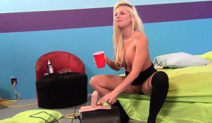 Hot, big tit Britney Amber uses a bunch of different toys to get off