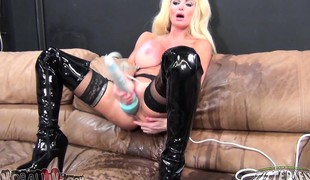 Stacked milf in black boots Taylor Wane pleases herself with sextoys