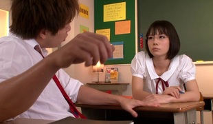 Nippon schoolgirl fucked and jizzed at school