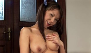 Pigtails solo model with natural boobs drilling her cunt with toy
