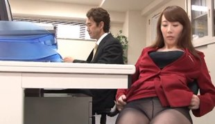 Yui Hatano is always willing to have doggy style sex in the office!