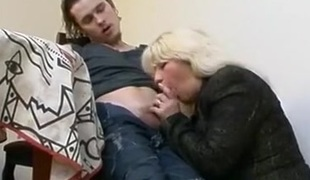 Horny blonde milf seducing fresh dude and gets her pussy licked and fucked by his fresh hard pecker