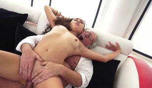 A hairy long haired minx is feeling a grandpa inside her soaked cum-hole