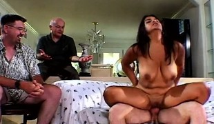 Mrs Walters engages in wild sex action with a stud in front of her man