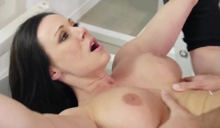 Kendra Lust with gigantic jugs finds her throat filled with Keiran Lees throbbing rod