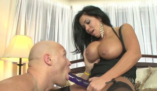 Curvy MILF bonks her chap sweetly and continuously with her strap-on dildo