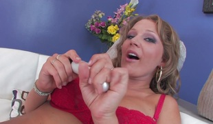 Breasty slut masturbates