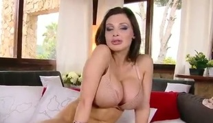 Aletta Ocean with juicy butt gets her sweet face painted with cum on livecam for your viewing pleasure
