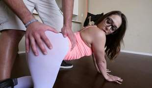 sexy Sara Luvv is proud of her bubble butt. Four-eyed hottie shows her cameltoe and then pulls down her skin taut white panties. Her big perfect ass makes mans knees weak