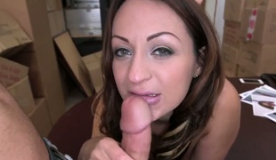Brunette latin with round gazoo has fire in her eyes as she gets her pretty face overspread in man cream