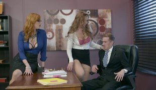 Boss gets his long dong pleased by lustful secretaries